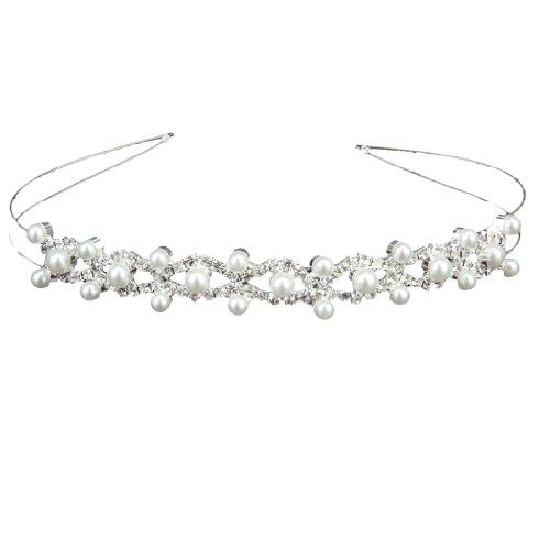 ReNext Wedding Party Bridal Bridesmaid Flower Girl Double Faux Pearl Crown Headband Tiara