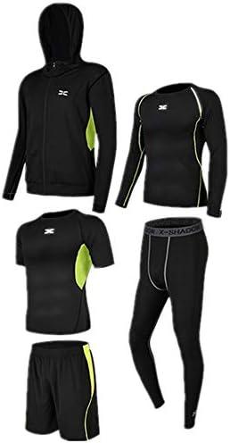 レディースジャージ上下セット 半袖Tシャツショーツ5個セットメンズベースレイヤー下着セットアウトウェア付き長袖シャツタイトパンツ 吸汗 速乾 (Color : Black green, Size : S)