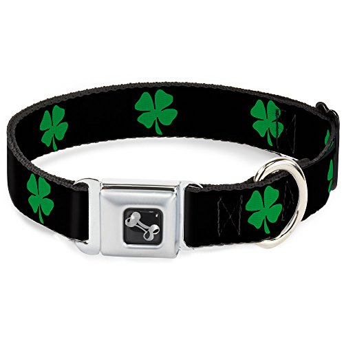 "Buckle-Down 18-32"" St. Pat's Black/Green Dog Collar Bone, Wide Large"