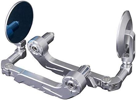 バイク ミラー 1ペアCNCアルミ製オートバイのサイドバーエンドMirrorsRearビュー22ミリメートル7/8インチハンドルレバーガードプロテクター - シルバー (Color : Silver, Size : As picture shown)