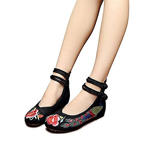 Colorful Folk Maybest Flower Vintage Mary Style Womens Shoes Wedge Cloth Dance Flats Low Ballet Jane Embroidered Casual Black FqEErt