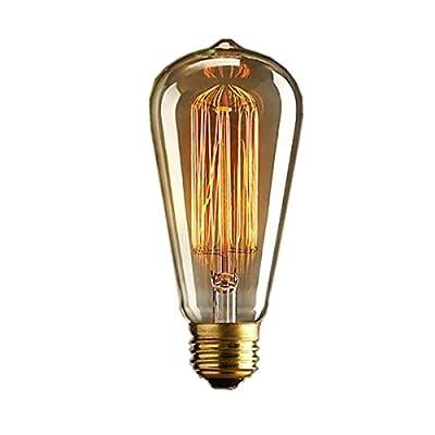 DSYJ Vintage Edison 40W 110V E26 Base Squirrel Cage Filament Incandescent Light Bulb, White, Pack of 1