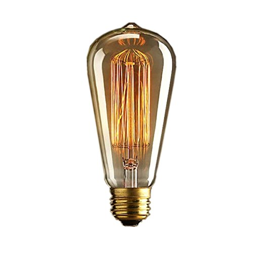 Aketek Vintage Edison 40W 110V E26 Base Squirrel Cage Filament Incandescent Light Bulb, White, Pack of 1