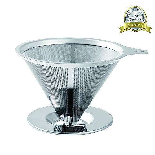 Stainless Steel Pour Over Coffee Filter - Paperless Pour Over Coffee Maker/Coffee Dripper- Reusable Coffee Cone Filter