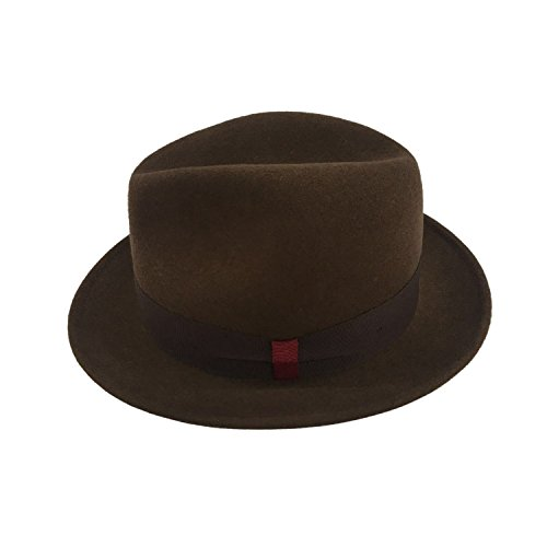 AccessHeadwear Alpas Men's Stokes Dark Brown 100% Wool Felt Classic Fedora by AccessHeadwear