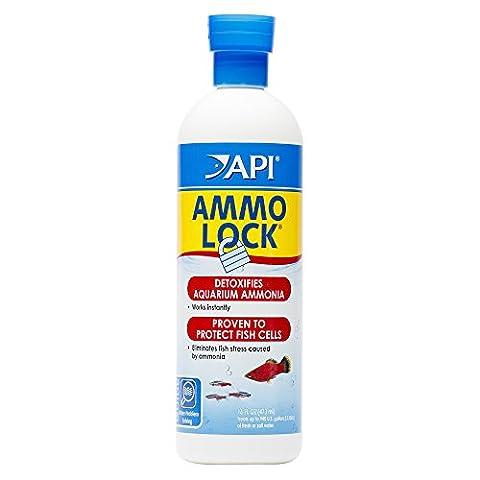 API AMMO-LOCK Freshwater and Saltwater Aquarium Ammonia Detoxifier 16-Ounce Bottle - Api Tap Water Conditioner