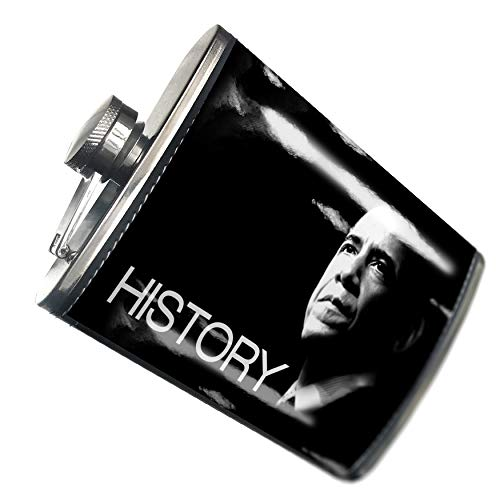 NEONBLOND Flask Barack Obama President Hip Flask PU Leather Stainless Steel Wrapped ()