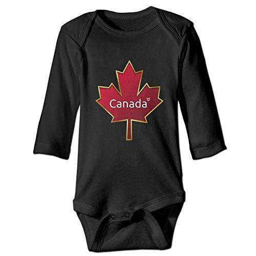 VEGAS Canada Unisex Long Sleeve Cotton Baby Onesies Bodysuits Black -