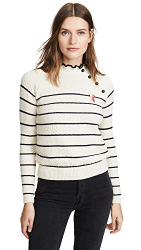 Scotch & Soda Maison Scotch Women's Button Detail Basic Sweater, Combo A, Off White, Stripe, Medium (Scotch And Soda Sweater)