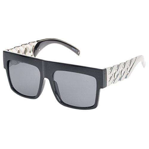 MLC Eyewear Big Oversized Flat Top Retro Hip Hop Thick Chain Frame Sunglasses (Black-Silver, ()