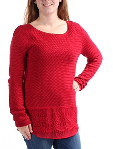 Lucky Brand Womens Lace Trim Crochet Pullover Top Red M ()