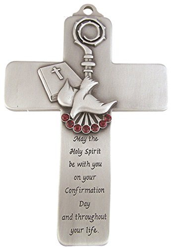 Pewter Holy Spirit Dove Wall Cross with Confirmation Message, 5 Inch