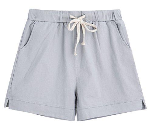 Yknktstc Womens Elastic Waist Cotton Linen Casual Beach Shorts with Drawstring US 14 Style 2 Grey by Yknktstc (Image #3)