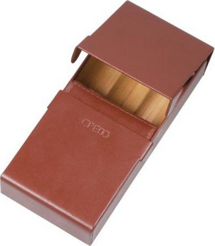 Credo Handmade Brown Calf Leather 3 Cigar Case Cedar Wood Interior with Humidifier by Rattray
