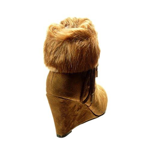 Angkorly Zapatillas Moda Botines Mujer Piel Nodo Encaje Talón Plataforma 9 cm Camel