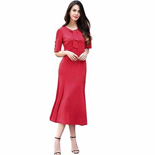 WINWINTOM Mujer DamaCasual De Bloque De Oficina De Color Vestido De Manga CortaBodycon Slim O-Cuello Arco De LáPiz Ol Vestido De La Envoltura Del Arco Rojo