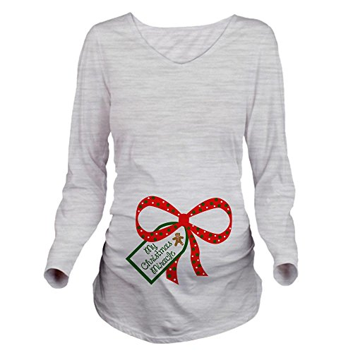 (CafePress My Christmas Miracle Long Sleeve Maternity T-Shirt Long Sleeve Maternity T-Shirt, Cute and Funny Pregnancy Tee Ash Grey)