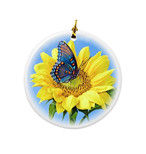Rikki Knight Blue Butterfly on Sunflower Design Round Porcelain Two-Sided Christmas Ornaments