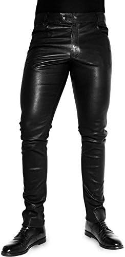 Bockle 1991 Super-Stretch Tube Black Men Stretch Leather Pants Leather Trosers Slim fit