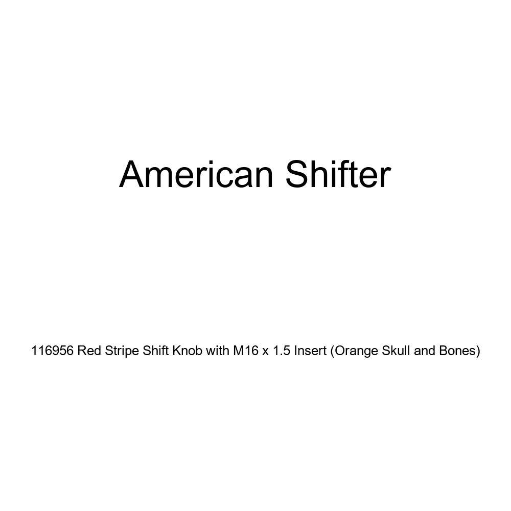 Orange Skull and Bones American Shifter 116956 Red Stripe Shift Knob with M16 x 1.5 Insert