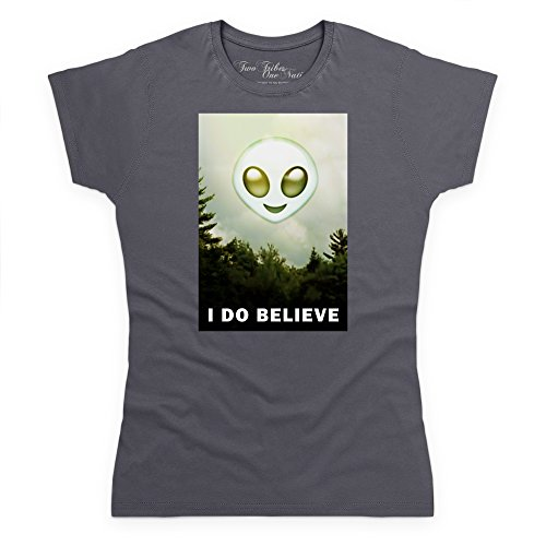 Official Two Tribes Emoji - I Do Believe Alien Camiseta, Para mujer Gris marengo
