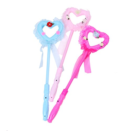 5 PACK LED Light-Up Heart Lollipop Glow Sticks Fashion Toys For Girls - Princess Flashing Fairy Wand Sticks Birthday Gift Party Supplies Dress Decoration ()