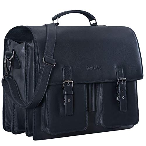 STILORD 'Anton' Aktentasche Leder XL Schwarz Vintage Lehrertasche Laptopfach 15,6 Zoll große Ledertasche zum Umhängen Trolley aufsteckbar