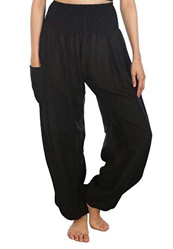 Lofbaz Women's Rayon Print Smocked Waist Boho Harem Pants Solid Black M -