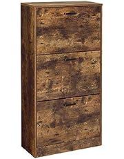 VASAGLE Schoenenkast met 3 klapdeuren, 3-laagse houten opbergkast, perfect voor smalle entree, gang, woonkamer, slaapkamer, 60 x 24 x 120 cm (L x B x H), Rustiek bruin LBC030X01