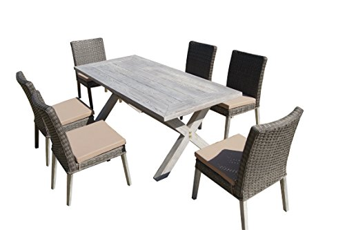 Carabelle Hardwood and Wicker Outdoor Patio 7 Piece Crossed Leg Dining Set with Seat Cushions, Antique Grey and Beige