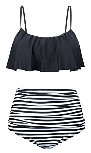 Angerella Vintage Cute Crop Top Flounce Stripes Bottom Bikini Black,US 10-12=Tag Size 2XL