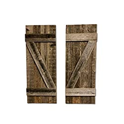 BarnwoodUSA   Rustic Farmhouse Window Shutters (Set of 2)   Made of 100% Reclaimed and Recycled Wood   Rustic Interior Window Shutters   Traditional Country Style Home Decor   Made in USA