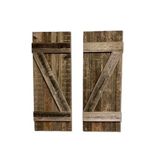 BarnwoodUSA | Rustic Farmhouse Window Shutters (Set of 2) | Made of 100% Reclaimed and Recycled Wood | Rustic Interior Window Shutters | Traditional Country Style Home Decor | Made in USA