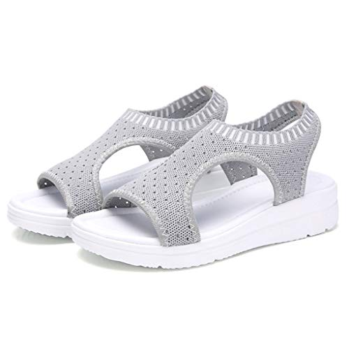 RAINED-Women Wedges Sandals Breathable Comfort Hollow Out Casual Peek-A-Boo Cork Wedge Boho-Chic Platform Sandal Gray -
