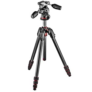 Manfrotto MK190GOC4B-3WUS 190 GO! 4 Section Carbon Fiber Tripod with 3 Way Head (Black)