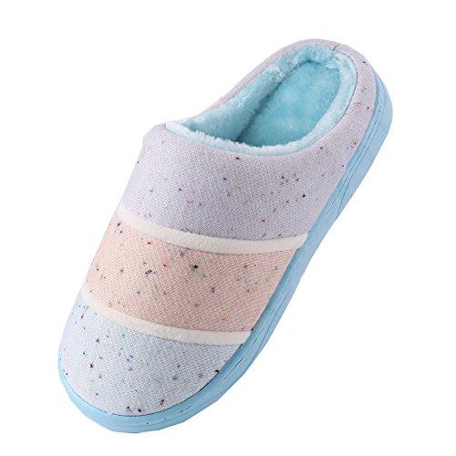 de punto de algodón zapatillas de casa-Unisexo invierno calentar felpa Botín con los zapatos Azul