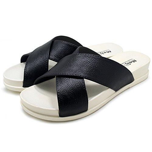 Beach Slides Sandalias para Mujeres,Polliwoo Zapatos de ducha Suela de antideslizante Con Piscina Sea Holiday Negro
