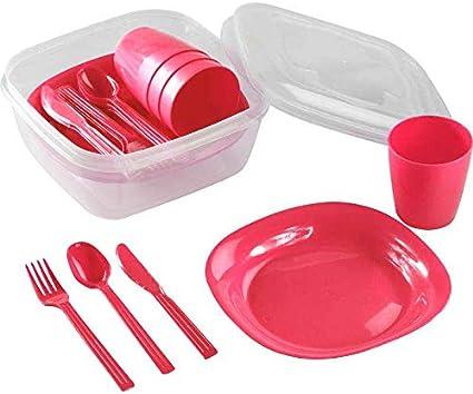 Kigima - Juego de camping para 4 personas con platos, vasos y cubiertos.
