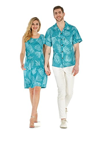Couple Matching Hawaiian Luau Outfit Aloha Shirt Tank Dress in Aqua Leaf Floral