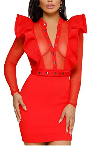 Courte Boutons Jaycargogo Femmes Perspective Pull 3 Robe Sexy Moulante Patchwork O6qOfxwR