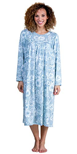 Calida Cotton Long Sleeve Knit Nightgowns in Summer Blue (Grayish Blue/White Floral, Large)