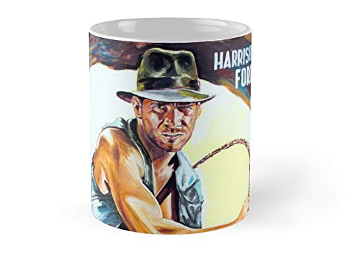 Hued Mia Harrison Ford Indiana Jones painting movie poster Mug - 11oz Mug - Features wraparound prints - Dishwasher safe - Made from Ceramic - Best gift for family friends