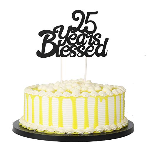 PALASASA Black Single Sided Glitter 25 Years Blessed Cake Topper