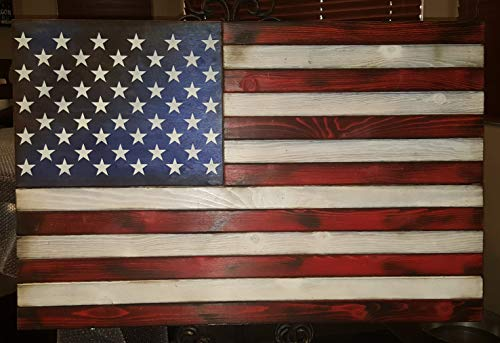 San Tan Woodworks Standard Size Burnt Wood Gun Concealment American Flag. Hand-Made, 100% American Gun Concealment Furniture for The Home (Burnt Red White and Blue)
