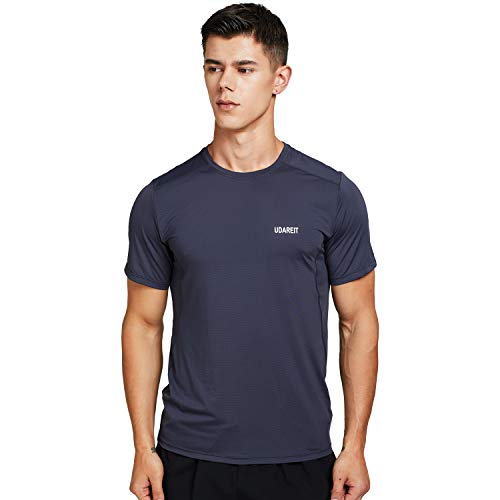 UDAREIT Mens Short Sleeve T-Shirt Quick Dry Gym Athletic Shirts Cool Workout Running Tops Breathable Stretchy Grey 3XL ()