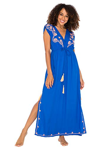 - Back From Bali Womens Long Maxi Dress Boho Embroidered Sleeveless Summer Sundress Deep V Neck Royal Blue L/XL