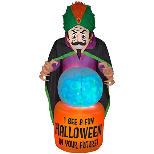 Halloween Holiday Yard Decor 7.5 ft. Inflatable-Mixed Media-Fire and Ice-Fortune Teller ()
