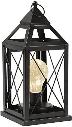 (Circleware Lantern Metal Cage Style Desk, Table, or Hanging Lamp - Cordless Accent Light with LED Bulb - 10.25