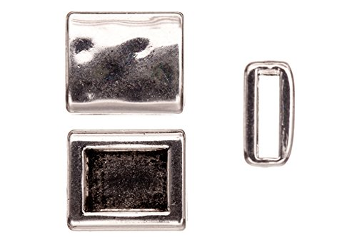 Square Bracelets Nickel (8pcs Personalized bracelets beads, antique silver-plated, hammer tone square patterned square slider beads)