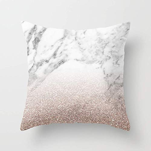 Nextchange Marble Sparkle Rose Gold Cotton Pillowcase (Two Sides) Pillow Cover Standar Size 22x22 in